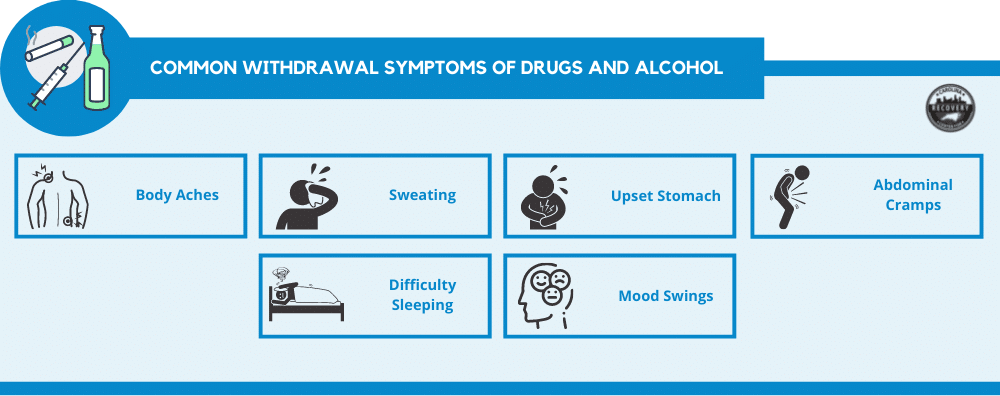 common withdrawal symptoms of drugs and alcohol